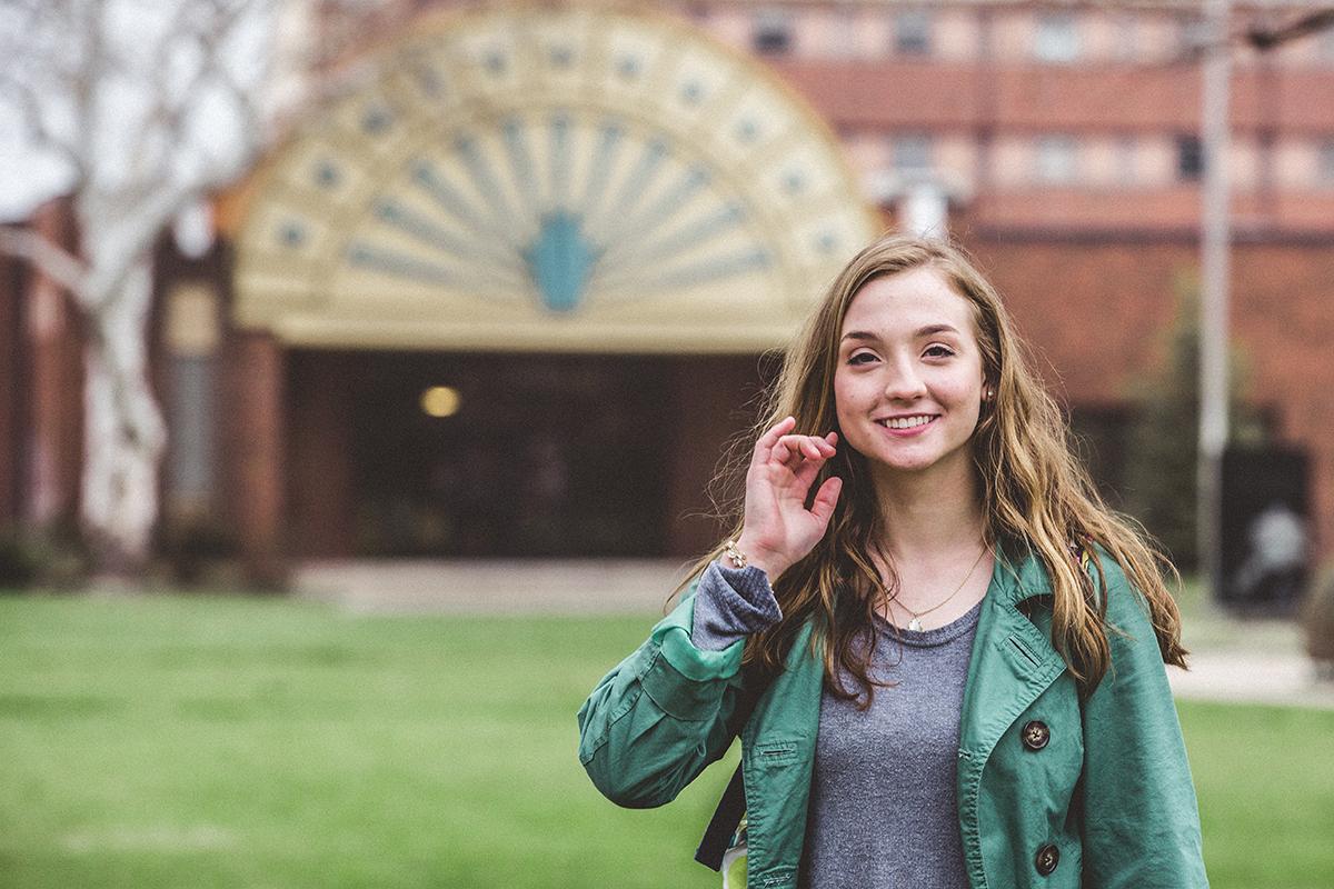 girl walking on campus