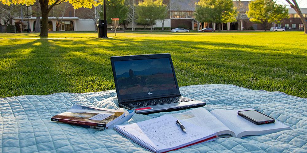 laptop on SNU Lawn